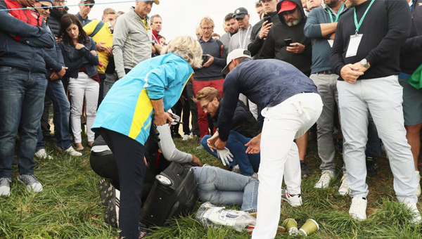 Accidente bola en el ojo Ryder CUp Brooks Koepka