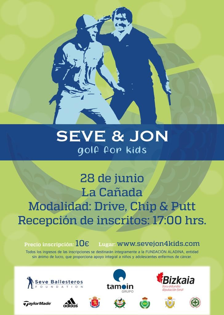 Cartel prueba Seve & Jon gofl for kids